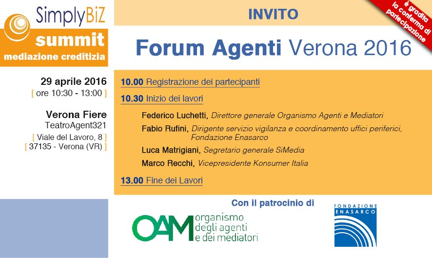 Invito | Forum Agenti Verona 2016, SimplyBiz Summit